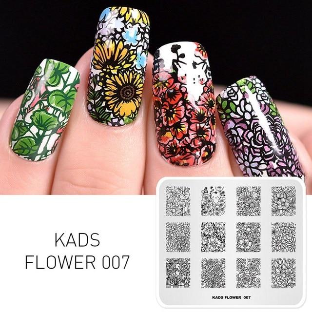 Placas de estampado de uñas KADS flor 007 varias flores gato Imagen Arte de uñas estampado plantillas estampilla para manicura de uñas
