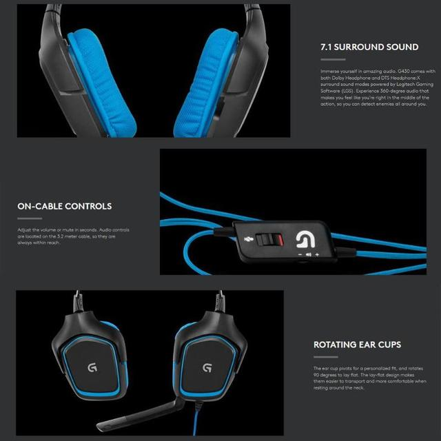 Logitech G430 7.1 Surround Gaming Headset Stereo USB Wired Headphones 5