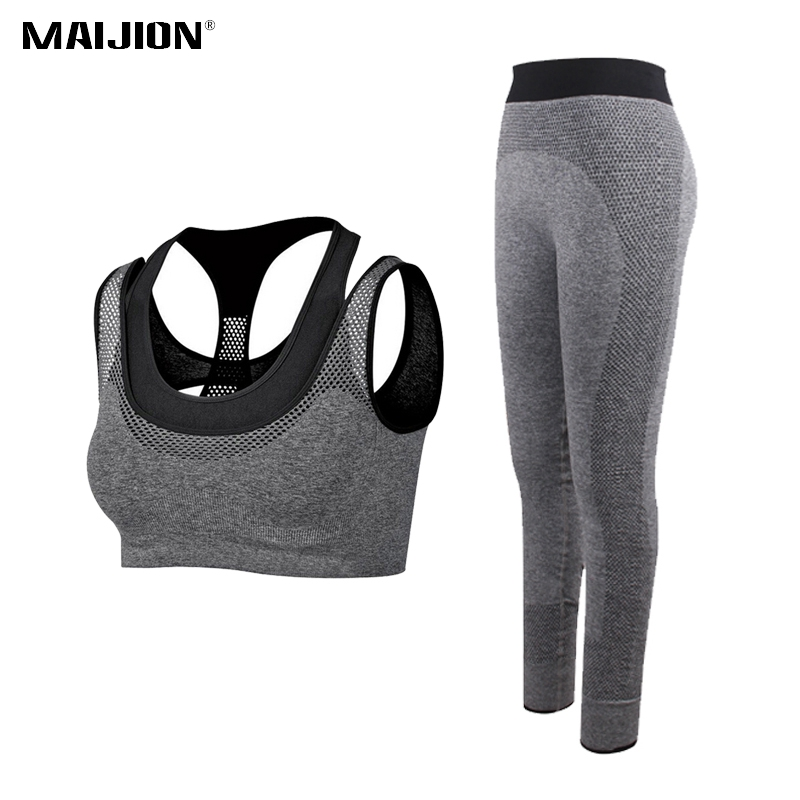 MAIJION Women Running Sets Breathable Yoga Bra&Sports Pants Suits,Gym Workout Athletic Sets Quick Dry Elastic Fitness Sportswear
