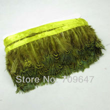 Wholesale!10Yards/lot Yellow Colour Ringneck Pheasant Plumage Feather  Fringe Feathers 2-3inches/5-8cm Trimming For Crafting