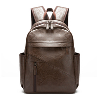 Men's Leather Backpack Retro College Wind Large Capacity Rain Bags Leisure Travel Shopping Functional Computer Bag