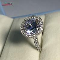 COLORFISH бриллиант обручальное кольцо с камнем 4 карат, круглая огранка проложить набор натуральной 925 пробы серебро синтетика Nscd Sona кольцо жен