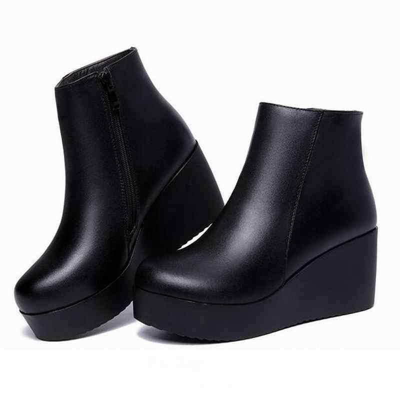 GKTINOO 2019 Mùa Thu Da Chính Hãng Khởi Động Mùa Đông Giày Phụ Nữ Mắt Cá Chân Khởi Động Nữ Nêm Boots Phụ Nữ Khởi Động Nền Tảng Giày Giày Ấm Áp