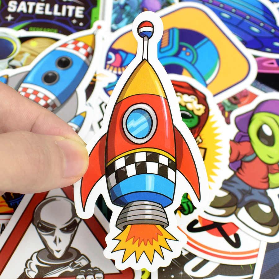 50 PCS Astronauta Espaço Exterior Adesivos Brinquedos para Crianças UFO Alienígena Foguete Planeta Adesivo para Scrapbooking Skate Laptop