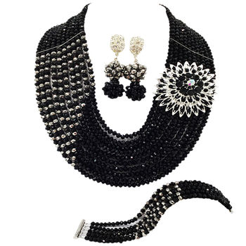 Black and Silver African Necklace Jewelry Set Nigerian Wedding Accessories Crystal Bridal Party Jewelry Sets for Women 10JZ01