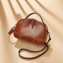 Brand designer new ladies luxury vintage cowhide shoulder bag genuine leather semi-circular small crossbody bags for women 2019