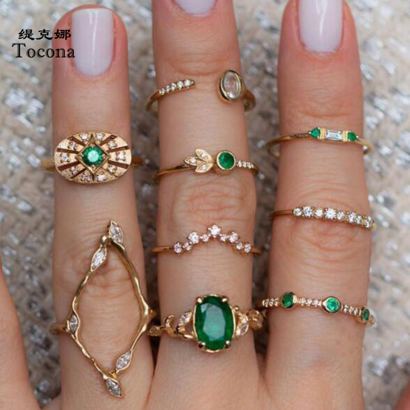 Tocona набор колец для пальцев, 9 шт./компл., богемский Роскошный зеленый хрустальный камень, полые геометрические украшения для женщин и мужчин...