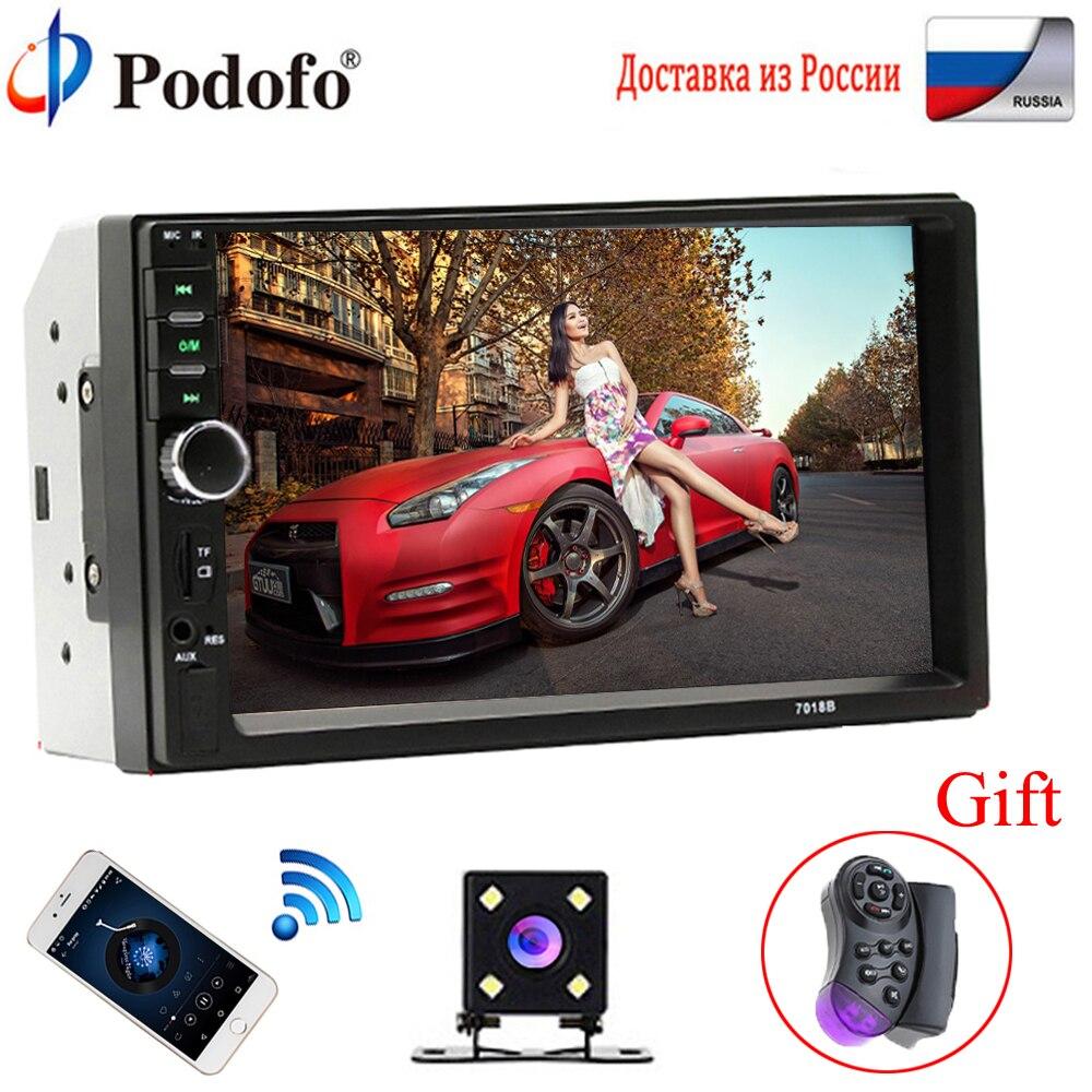 """Podofo 2 Дин Радио Bluetooth 2din автомобильный мультимедийный плеер 7 """"HD Touch Авторадио MP5 USB аудио стерео с заднего вида Камера"""