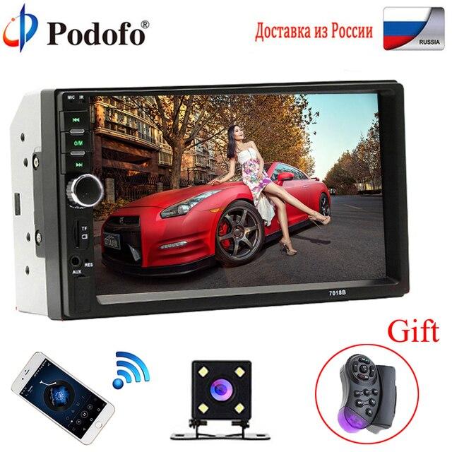 """Podofo 2 Din カーラジオの Bluetooth 2din カーマルチメディアプレーヤー 7 """"HD タッチ Autoradio MP5 USB オーディオステレオとリアビューカメラ"""