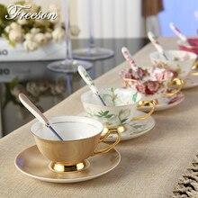 Европа благородный костяного фарфора Кофе чашка с блюдцем ложка 200 мл Роскошные Керамика фарфоровая кружка Чай чашек кафе Party Посуда для напитков подарок