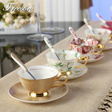 Edle Luxus Bone China Kaffeetasse Und Untertasse Löffel Set Keramik becher 200 ml Erweiterte Porzellan Teetasse Schale Für Geschenk Cafe Party