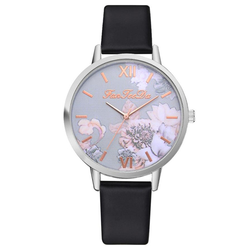 Women's Watch Printed Flower Print Analog Alloy Watches Causal Quartz Analog Wristwatch Relogio Masculino