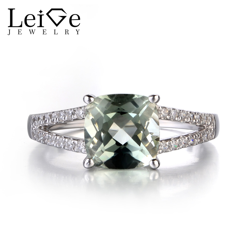Leige Jewelry Natural Green Amethyst 925 Solid Sterling Silver Ring Fine Gemstone Cushion Cut Engagement Rings for WomenLeige Jewelry Natural Green Amethyst 925 Solid Sterling Silver Ring Fine Gemstone Cushion Cut Engagement Rings for Women