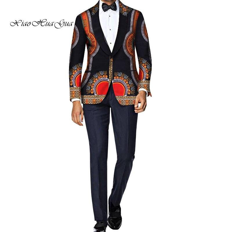 Hommes Blazer veste fantaisie africain Dashiki hommes vêtements de mariage robe costume Blazer veste hauts manteau décontracté WYN750