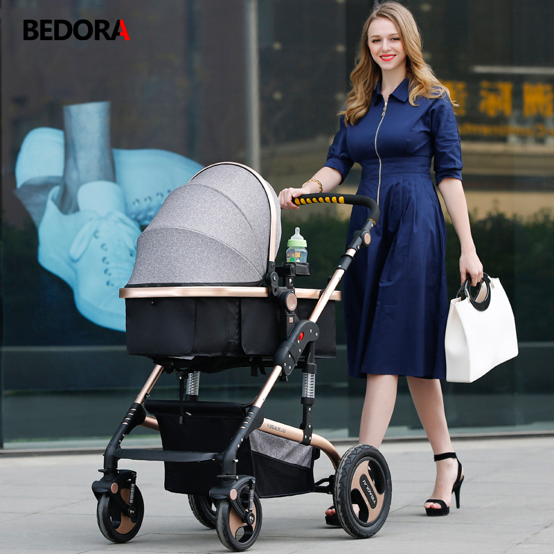 Bedora High Landscape Baby Stroller 2 in 1 Stroller Kids 0-3 Years Old Free Shipping Multi-Position Adjustment Trolley 9 Gifts все цены
