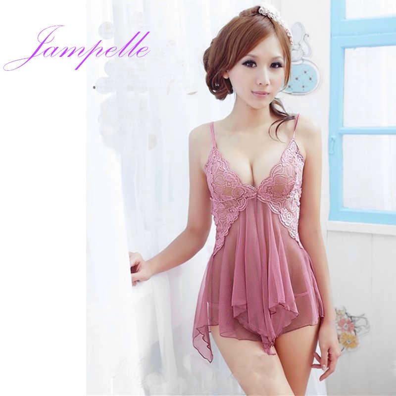 2f8edea15d7 2018 Sexy Lingerie Lace mesh Dress Babydoll G string women underwear  nightdress female sleepwear erotic costumes