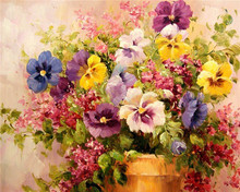 Flower DIY Painting By Numbers No Frame Drawing Kits Paint On Canvas Unique For Home Wall Art Picture Hand Painted Oil Painting(China)