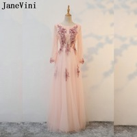 JaneVini Vintage Long Sleeve Mother Of The Bride Dresses With Lace Flowers Pearls Groom Mother Evening Dresses Novias Vestidos