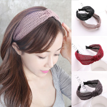 Sale Hollow Out Lace Headband For Women Knotted Comfortable Simple Wide Hairband Hearwear plastic band