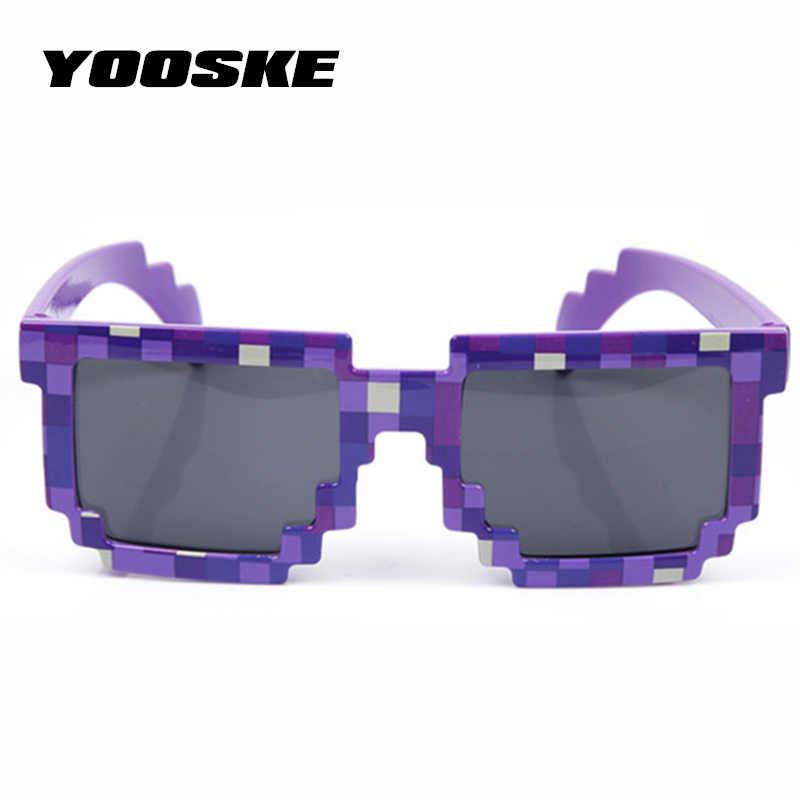 7f6661add3 ... YOOSKE Vintage Minecraft gafas de 8 bits Pixel mujeres hombres gafas de  sol mujer hombre mosaico ...