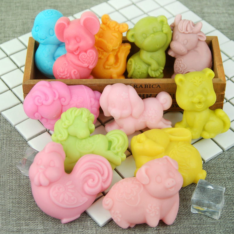 12 Kinds Animal China Zodiac Easter Rabbit Soap Mold DIY Cute Soap Mold Candle Mold Cake Candle Mold Decoration DIY Soap Gift