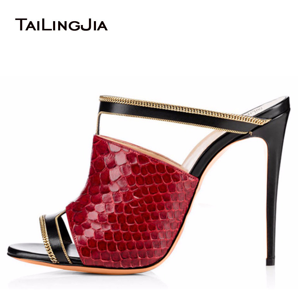 c03cc0476ce9 Women Sexy Peep Toe Mules Red Python Pattern High Heel Sandals Black Dress  Shoes Ladies Summer Stilettos with Chain Big Size