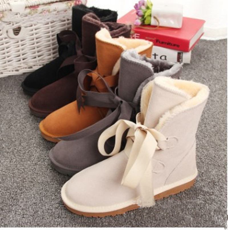 2018 New Fashion Women Snow Boots Style Riband Leather Winter Shoes ... 9d503b21c