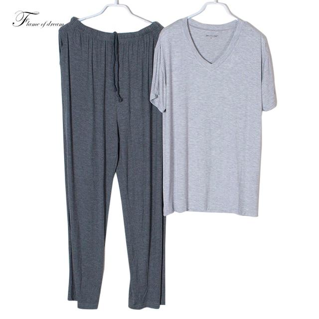 Material de Modal Pijamas Homem Roupa de dormir Pijamas Pijamas Homens Hombres Hombre Homens Homem do Pijama Vestuário Set d115