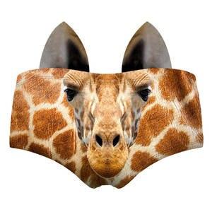 Echte Tier 3D Muster Sexy Frauen Höschen Ohren Baby Schwein Katze Corgi Fuchs Giraffe Ziege Hedgehog Lama Pinscher Dame Unterwäsche briefs