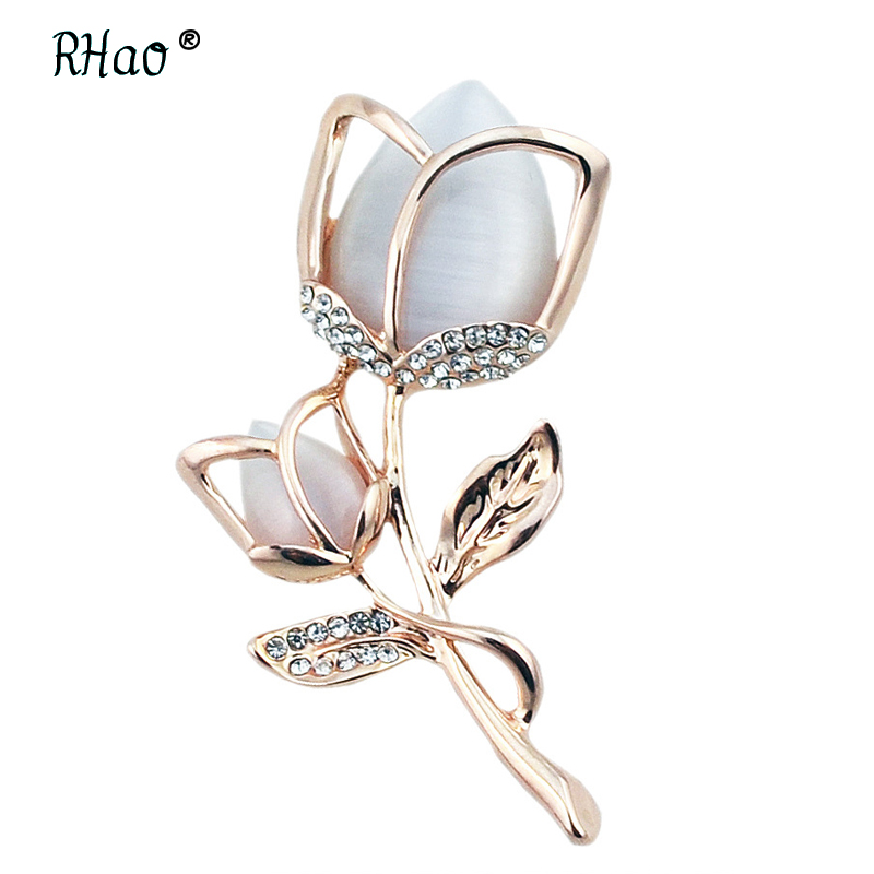 23f87e955 RHao Romantic Women Flowers Brooches Rose Gold-color Opal Plant Brooches  pins for women wedding