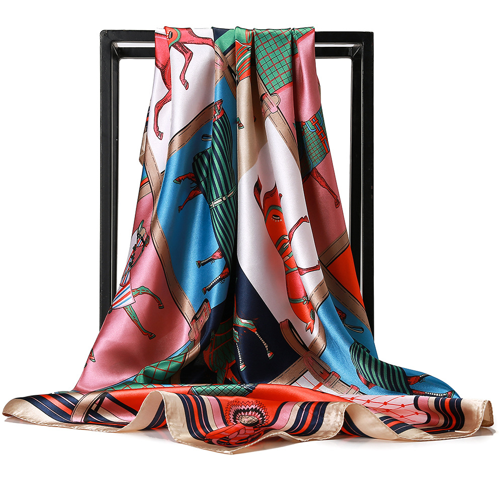 Head Hijab Square   Scarf   Women Luxury Brand Horse Print Silk Neck   Scarves   Satin Shawl   Wraps   Handkerchief Femme Bandana Foulards