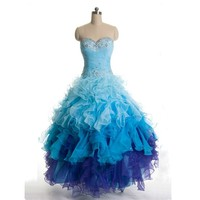 MDBRIDAL Blue Ball Gown Prom Dress With Beading Strapless Ruffles Organza Evening Dresses 3 Colors