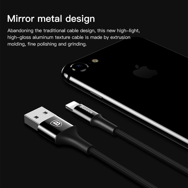 Baseus LED Light USB Fast Charging Data Cable For iPhone X XS Max XR 8 7 6 6s Plus 5 5S SE iPad