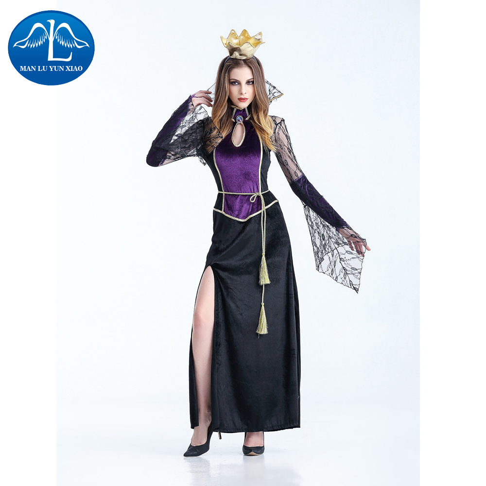 MANLUYUNXIAO Witch Costume Halloween Cosplay Costume Long Dress Woman Costume Performance Dance Show Costumes Wholesale