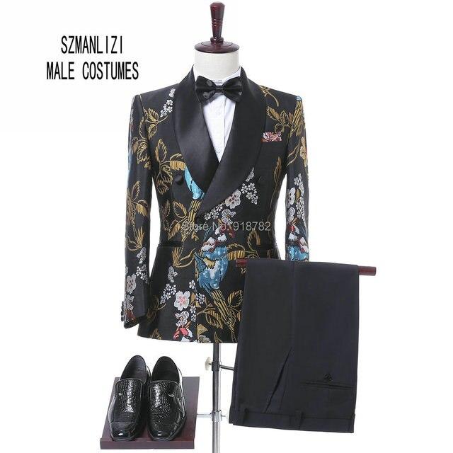 Nouveaux Modèles 2017 Fleur Hommes Costume Marque Châle Revers Mariage  Marié costume Avec Pantalon de Smoking 26328faab85