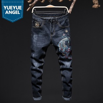 Design Straight Leg Stretch Jeans Men Personalized Street Embroidery Animal Slim Fit Jeans Business Casual Denim Trousers Male
