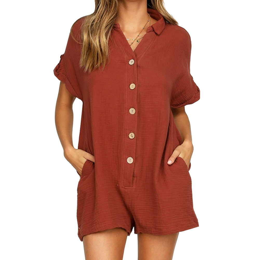 Summer Short Sleeve Linen Playsuit Women Rompers Casual Button Up Pockets Tube Loose Wide Leg Sexy Jumpsuit Shorts