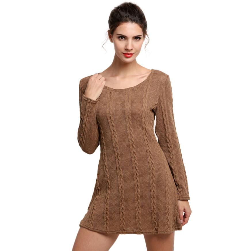 Knit 2016 Quality Guarantee Above Knee Women Ladies Long Sleeve Crewneck Jumper Slim Casual Knitted Sweater Mini Dress S