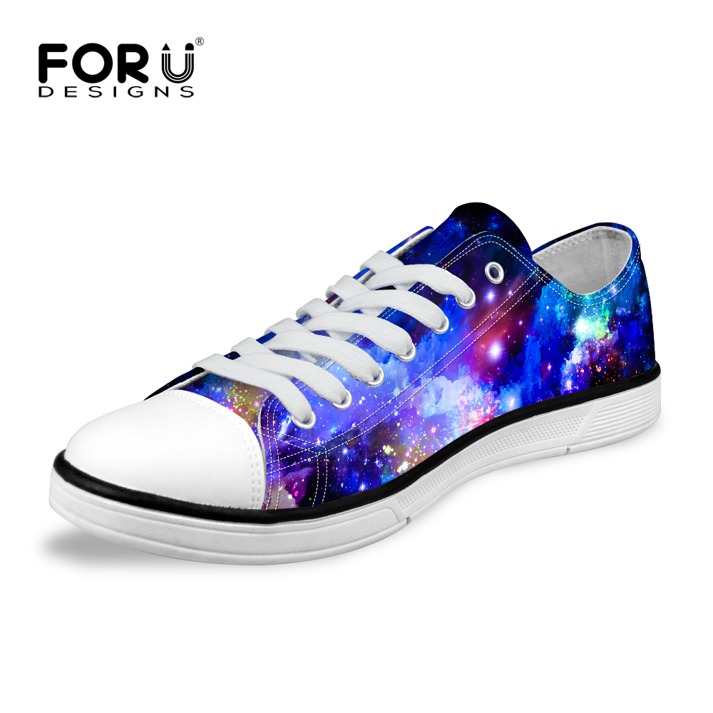 FORUDESIGNS Fashion Galaxy Universe Space Star Printed Women Casual Low Canvas Shoes,Breathable Lace-Up Female Vulcanized Shoes