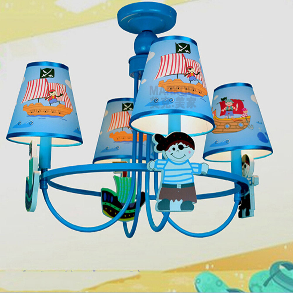 ФОТО New pirate Led Chandelier Cartoon E14 Led chandeliers 110V-220V Kids Room Chinese blue Chandeliers Led Lamps