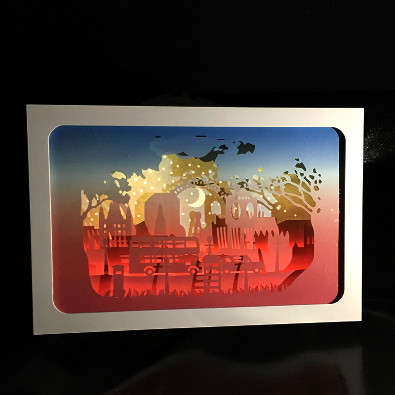 BOSHENG 3D Papercut Light Boxes London Street Design Paper Lantern Baby Night Light Lamp of Creative Light Paintings Family Gif