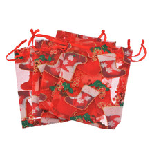 30831d588b Hoomall 10PCs Drawable Socking Gift Bag Holder Organza Large Red Christmas  New Year Dinner Party Xmas Gift Supplies 18.5x13cm