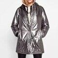 Mujeres abrigo de invierno chaqueta Larga Parkas outwear gruesa abrigo cálido abrigo de mujer ropa de invierno de las señoras de plata de metal de gran tamaño con capucha floja