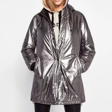 Women winter coat Long jacket Parkas female winter clothes ladies silver metal outwear thick warm overcoat big size hoody loose