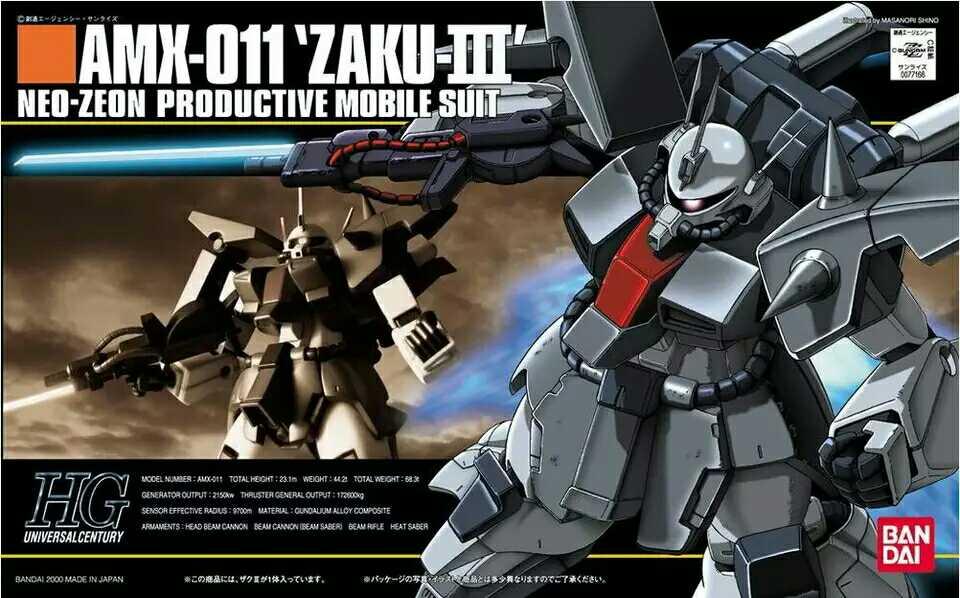 1PCS bandai 1/144 HGUC 014 AMX-011 Zaku-III Gundam Mobile Suit Assembly Model Kits Anime action figure lbx toys ohs bandai mg 179 1 100 sengoku astray gundam mobile suit assembly model kits