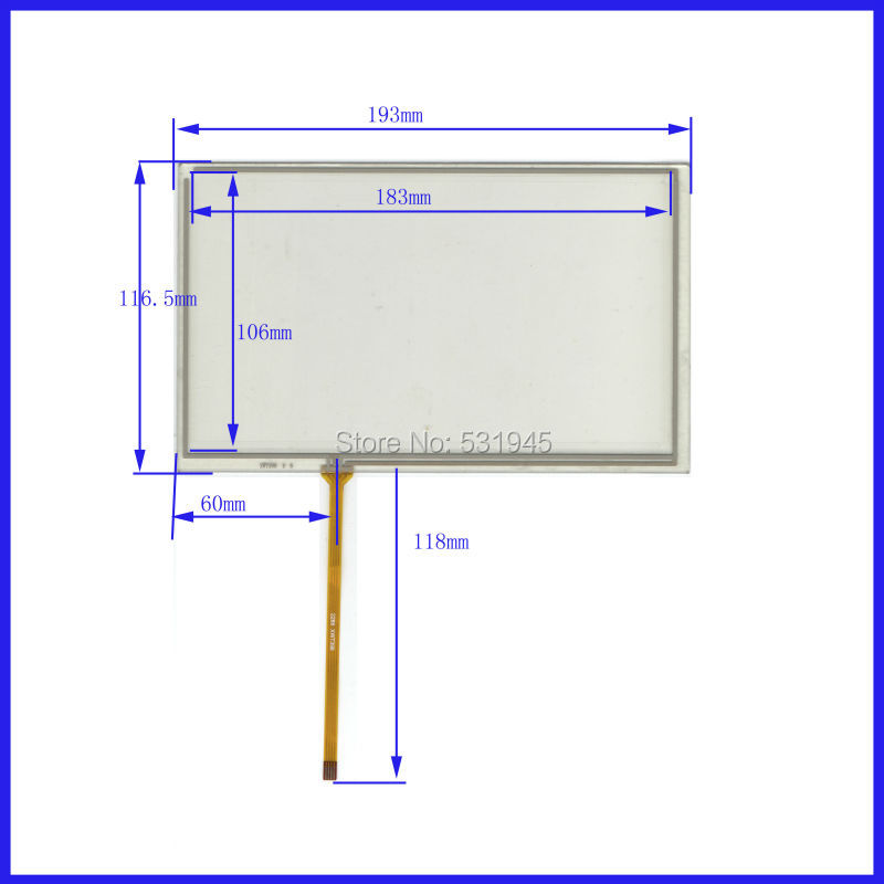 NEW 8 Inch TouchScreen193*117 193mm*117mm for industry applications XWT398 GLASS onAT080TN display