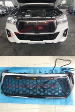 цена на EXTERIOR AUTO ACCESSORIES  RACING GRILL GRILLS FRONT BUMPER MASK COVERS WITH ORANGE LED LIGHT FIT FOR HILUX ROCCO 2018 2019 CAR