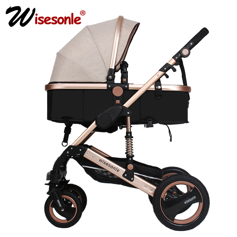wisesonle baby stroller 2 in 1 stroller lie or damping folding light weight Two-way baby four seasons Russia free shipping все цены