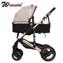 Wisesonle детская коляска  2 в 1 коляска лежать или демпфирования складной легкий вес Двусторонняя детская четыре сезона России Бесплатная доставка