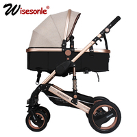 wisesonle baby stroller 2 in 1 stroller lie or damping folding light weight Two way baby four seasons Russia free shipping